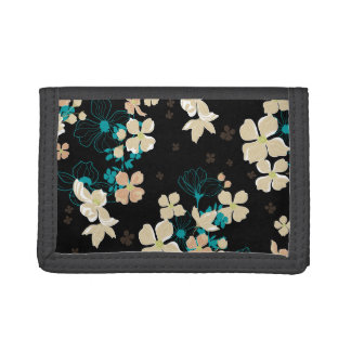 Floral Beige and Teal Tri-fold Wallet