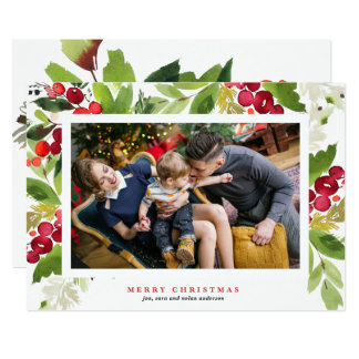 Floral Berry Frame Holiday Photo Card in Red