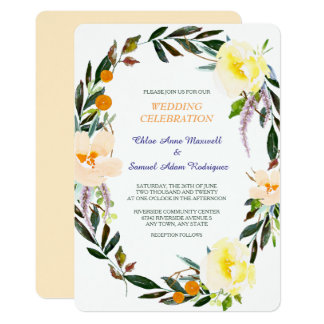 Floral Berry Wreath Wedding Invitation