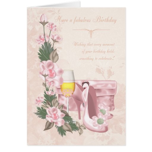 Floral Birthday Card With Shoes, Purse and Wine