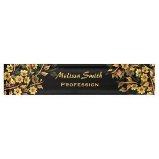 Floral Black And Gold Desk Nameplate