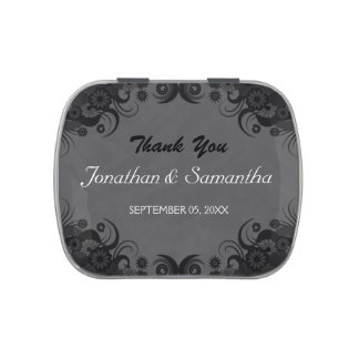 Floral Black and Gray Goth Wedding Favor Candy Tin