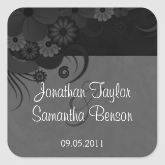 Floral Black and Gray Gothic Save The Date Sticker