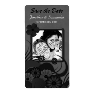Floral Black and Gray Save The Date Wine Labels