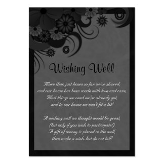 Floral Black and Gray Wedding Wishing Well Cards Pack Of Chubby Business Cards