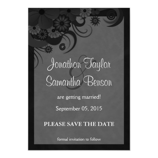 Floral Black and Grey Save The Date Announcements