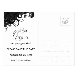 Floral Black and White Goth Save The Date Postcard
