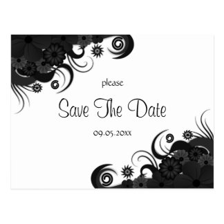 Floral Black and White Gothic Save The Date Cards Postcard