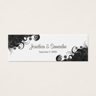 Floral Black and White Gothic Wedding Favor Tags Mini Business Card