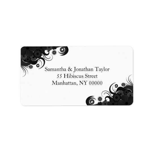 Floral Black and White Large Return Address Labels