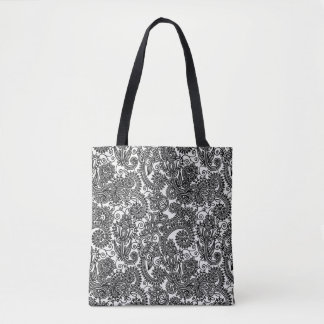 Floral Black And White Paisley Damask Flowers Tote Bag