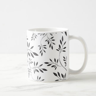 Floral Black and White Pattern Coffee Mugs