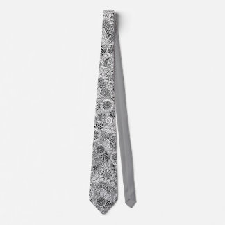 floral black and white pattern tie
