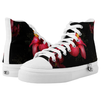 Floral black and white printed shoes