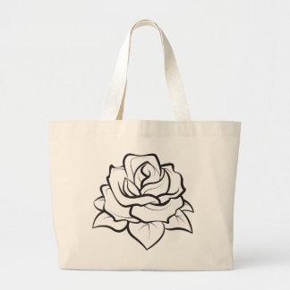 Floral BlacK And White Rose Flower Illustration Large Tote Bag