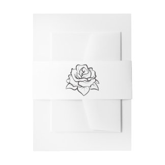 Floral Black And White Rose Flower Wedding Party Invitation Belly Band