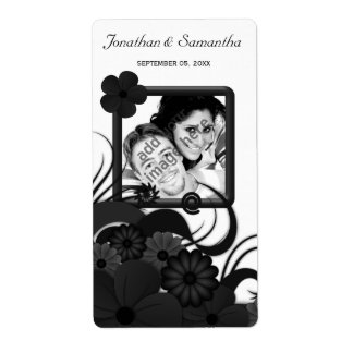 Floral Black and White Wedding Photo Wine Labels