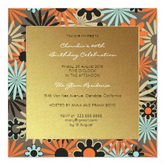 Floral Black Aquamarine Meadow Event Birthday Gold Card