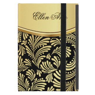 Floral Black Gold Folio iPad Mini