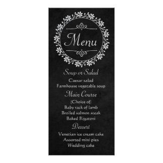 Floral Black Gray Chalkboard Flower Wreath Wedding Rack Card