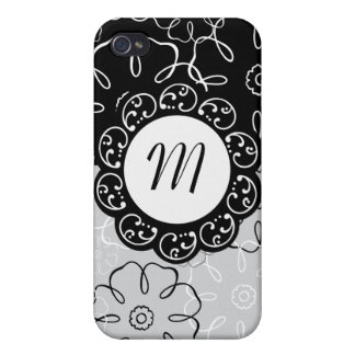 Floral Black Gray Flower Monogram iPhone Speck Cas Covers For iPhone 4
