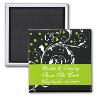 Floral black green wedding Save the Date Square Magnet