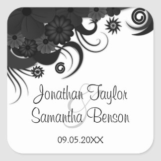 Floral Black Hibiscus Gothic Save The Date Sticker