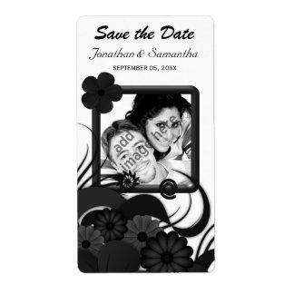Floral Black Hibiscus Save The Date Wine Labels Shipping Label