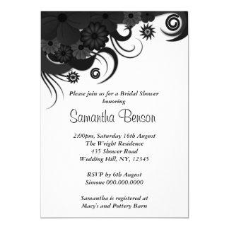 Floral Black Hibiscus Wedding Bridal Shower Invite