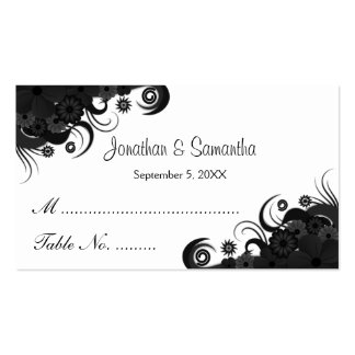 Floral Black Hibiscus Wedding Table Place Cards Business Card Templates
