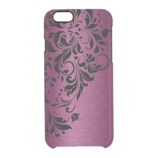 Floral Black Lace & Metallic Burgundy Red Texture Clear iPhone 6/6S Case