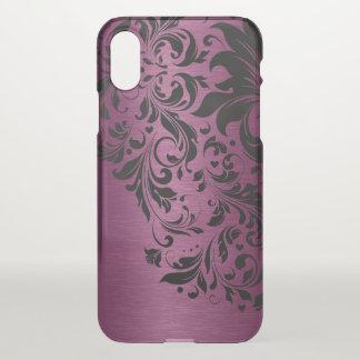 Floral Black Lace & Metallic Burgundy Texture iPhone X Case