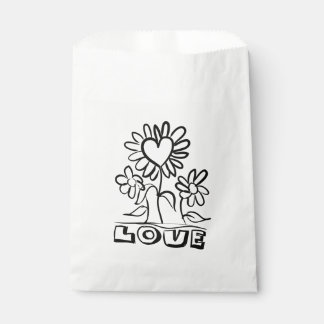 Floral Black Love Flowers & Hearts Wedding Party Favour Bags