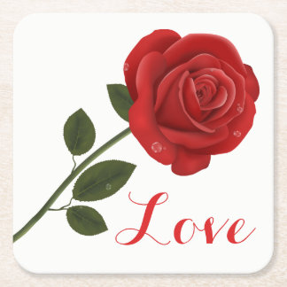 Floral Black Love Red Rose Flower - Wedding Party Square Paper Coaster