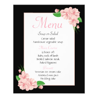 Floral Black Menu Pink Flowers Wedding Party