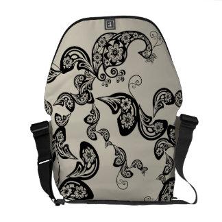 Floral Black Peacock Vintage Pattern Vector Art Messenger Bag