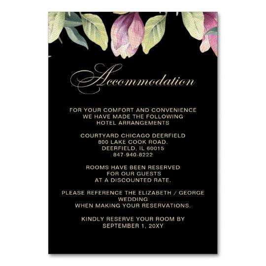 Floral Black Purple Gold wedding accommodation Card