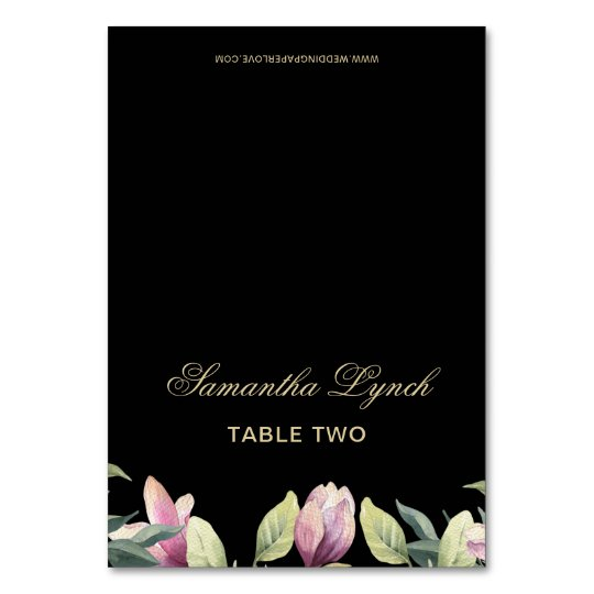 Floral Black Purple Gold wedding table name cards