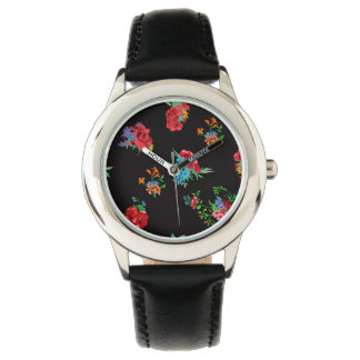 Floral  black seasonal Pattern. Roses, daisy Wristwatch