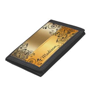 Floral black tri-fold wallet