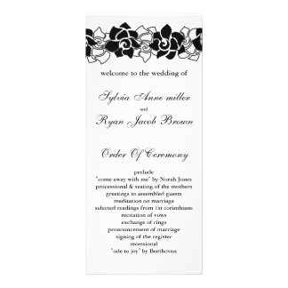 floral black Wedding program Full Colour Rack Card
