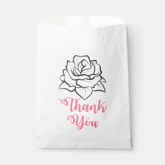 Floral Black & White Rose Flower Pink Thank You Favour Bag