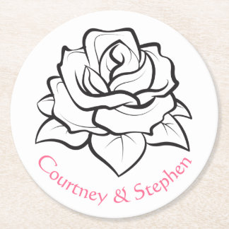 Floral Black White Rose Flower Pink  Wedding Party Round Paper Coaster