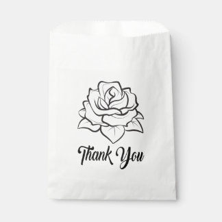 Floral Black & White Rose Flower Wedding Thank You Favour Bag