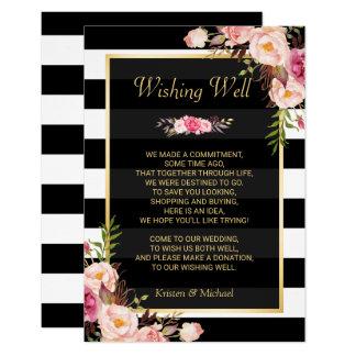 Floral Black White Stripes | Wedding Wishing Well Card