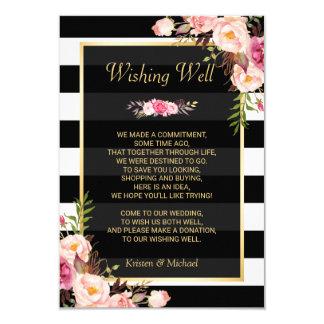 Floral Black White Stripes   Wedding Wishing Well Card