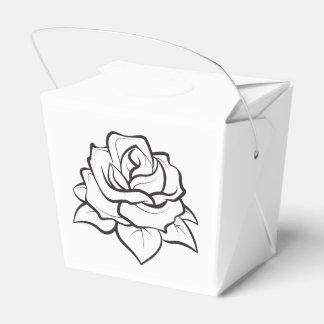 Floral Black & White Wedding Rose Flower Party Favour Box