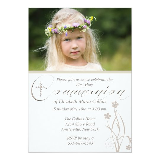 Floral Blessing Photo First Holy Communion  Invita Card