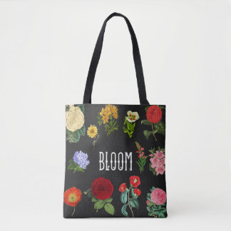 Floral Bloom, Vintage Flowers Black Tote Bag
