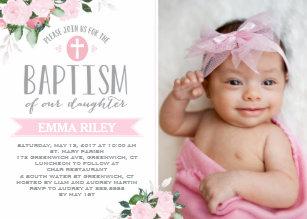 Girls Christening Baptism Invitations Zazzle Com Au